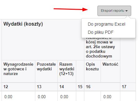 Eksport raportu do pdf i excel