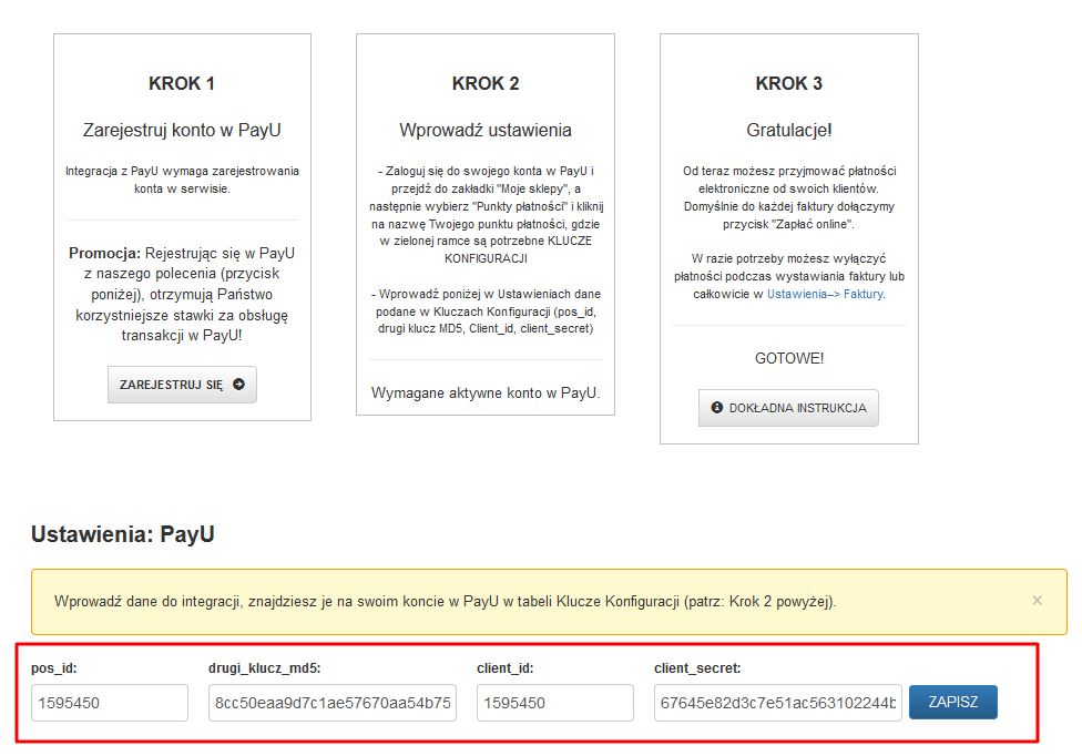 Ustawienia PayU w programie FakturaXL