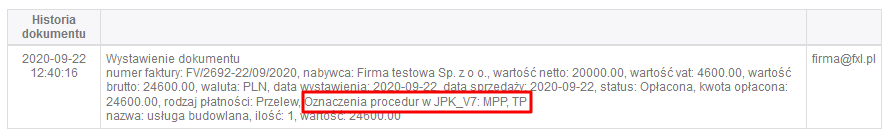 historia dokumentu z oznaczeniami procedur JPK-v7
